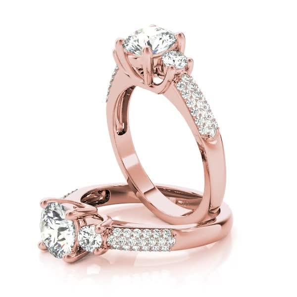 Three Stone Diamond Trellis Engagement or Anniversary Ring in Rose Gold