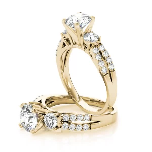 Three Stone Diamond Engagement Ring with Split Diamond Band Yellow Gold