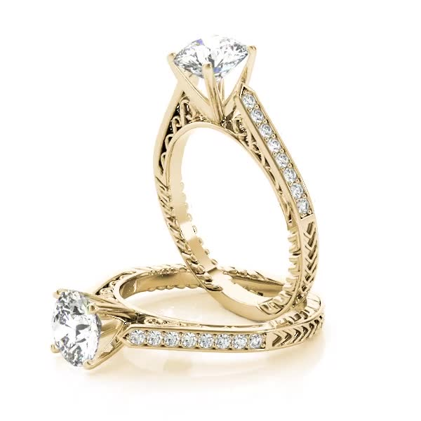 Cathedral Diamond Engagement Ring with Filigree & Engraving Yellow Gold