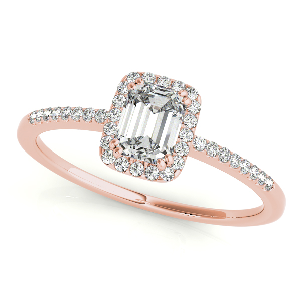 Engagement Ring Emerald Cut Diamond Petite Halo Engagement Ring In Rose Gold Es1738rg