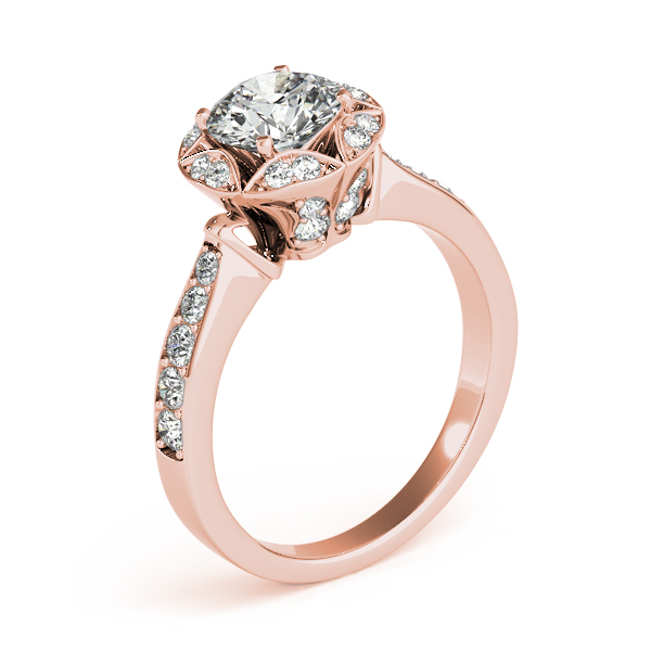 Star of David Crown Diamond Halo Engagement Ring in Rose Gold