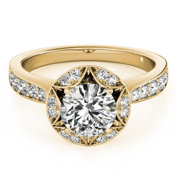 Star of David Crown Diamond Halo Engagement Ring in Yellow Gold