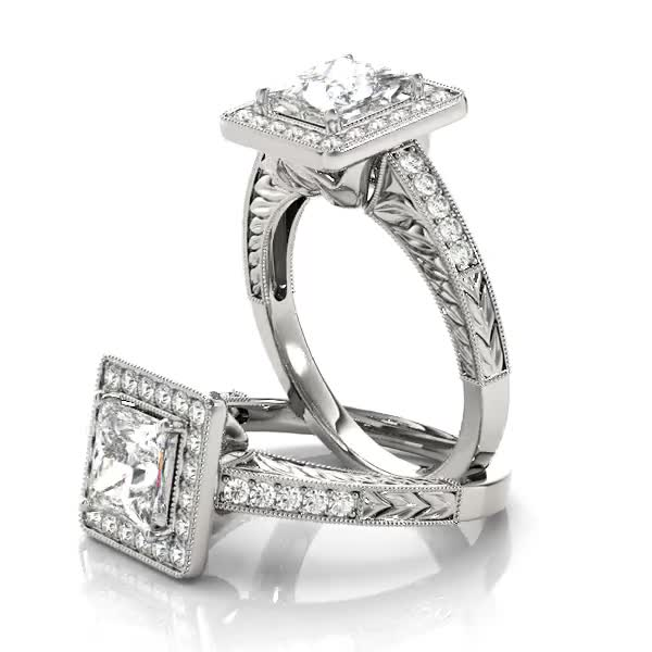 Vintage Square Diamond Halo Engagement Ring with Engraved Band