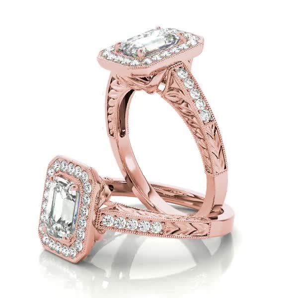 Vintage Emerald Cut Diamond Halo Engagement Ring with Engraved Band in Rose Gold