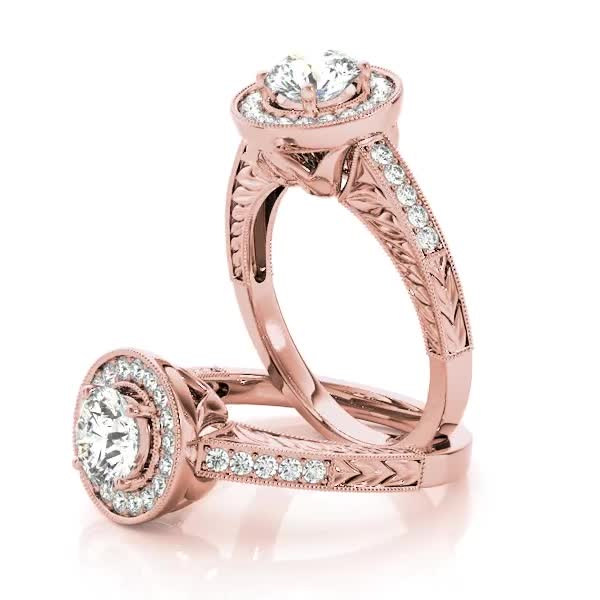 Vintage Diamond Halo Engagement Ring with Engraved Band in Rose Gold