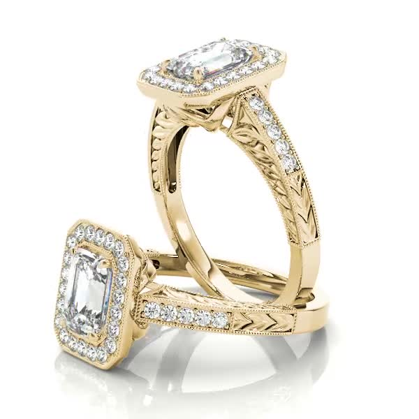 Vintage Emerald Cut Diamond Halo Engagement Ring with Engraved Band Yellow Gold