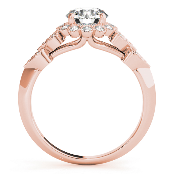 Floral Halo Diamond Bridal Set with Heart Shape Accents in Rose Gold