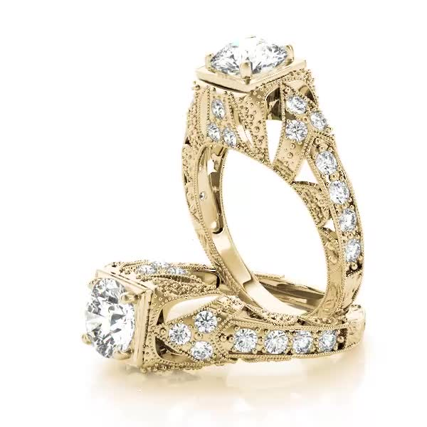 Filigree Diamond Heirloom Engagement Ring Yellow Gold