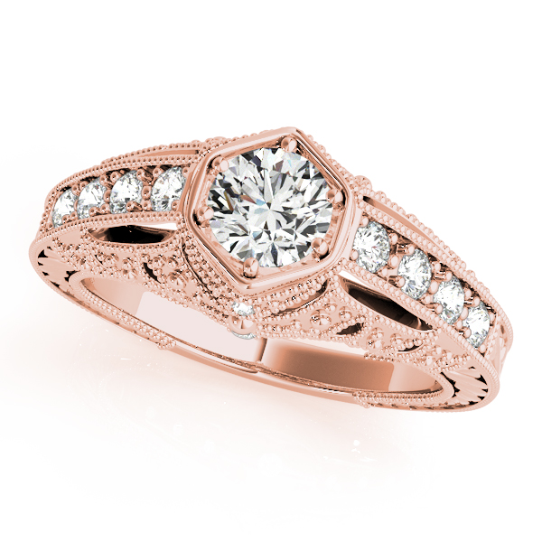 Engagement Ring Filigree Diamond Heirloom Engagement Ring in Rose Gold ES1743RG