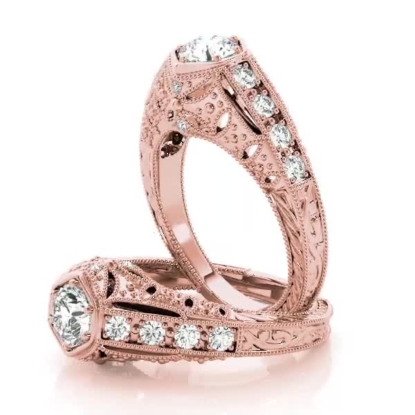 Filigree Diamond Heirloom Engagement Ring in Rose Gold