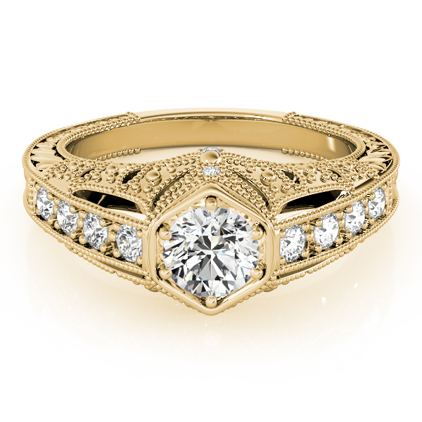Filigree Diamond Heirloom Engagement Ring in Yellow Gold