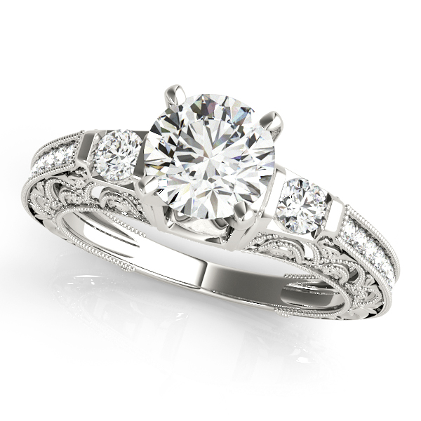 Three Stone Diamond Engagement Ring with Filigree & Milligrain Designs
