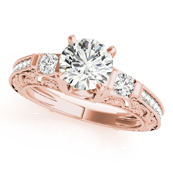 Three Stone Diamond Engagement Ring with Filigree & Milligrain Designs in Rose Gold