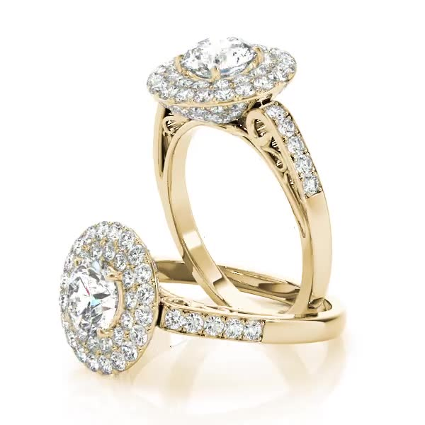 Double Halo Crown Diamond Engagement Ring with Filigree Designs Yellow Gold