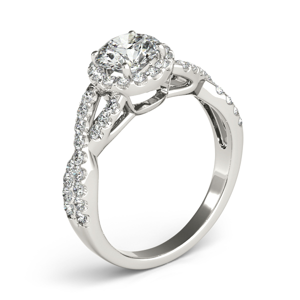Halo Diamond Engagement Ring with an Intertwined Band