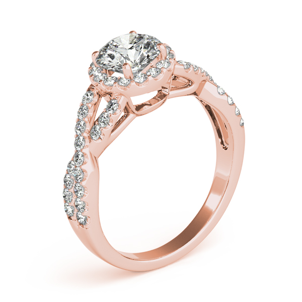 Halo Diamond Engagement Ring with an Intertwined Band in Rose Gold