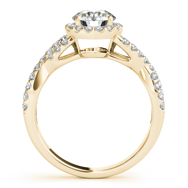 Halo Diamond Engagement Ring with an Intertwined Band in Yellow Gold