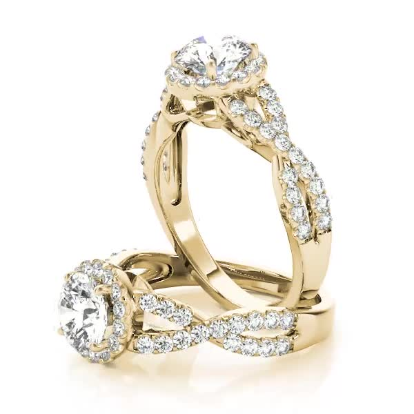 Halo Diamond Engagement Ring with an Intertwined Band Yellow Gold