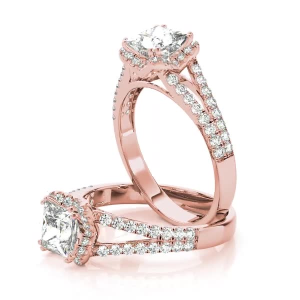 Princess Diamond Halo Engagement Ring with Split Band in Rose Gold