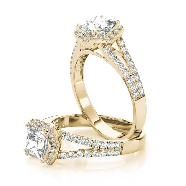 Princess Diamond Halo Engagement Ring with Split Band Yellow Gold