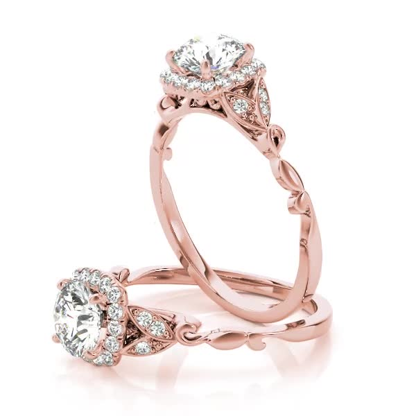 Halo Diamond Floral Engagement Ring & Engraved Wedding Band in Rose Gold