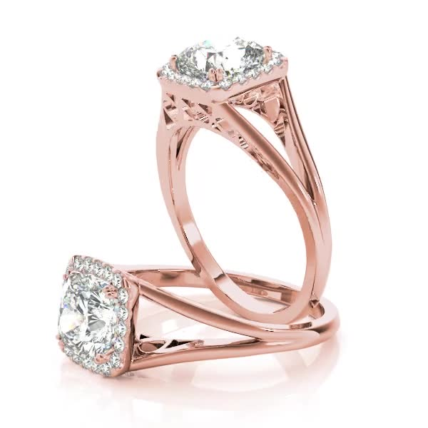 Square Diamond Halo with Solid Split Band & Filigree in Rose Gold
