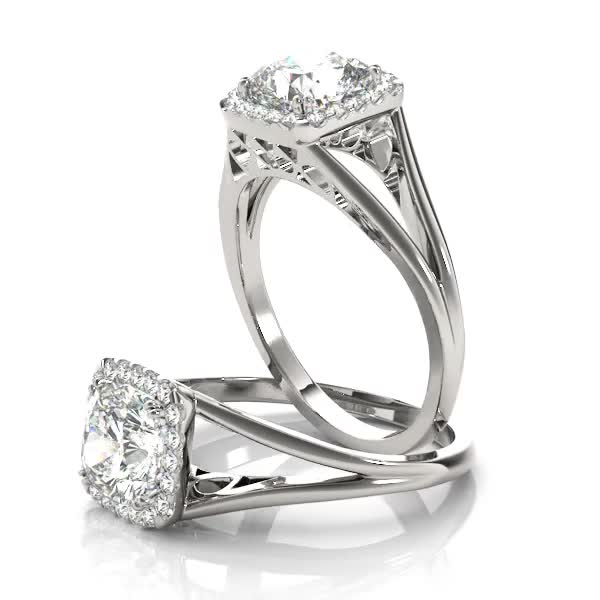 Square Diamond Halo with Solid Split Band & Filigree