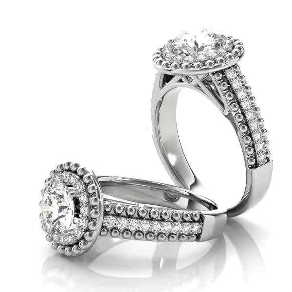 Double Diamond and Milligrain Design Halo Engagement Ring with Triple Row Band
