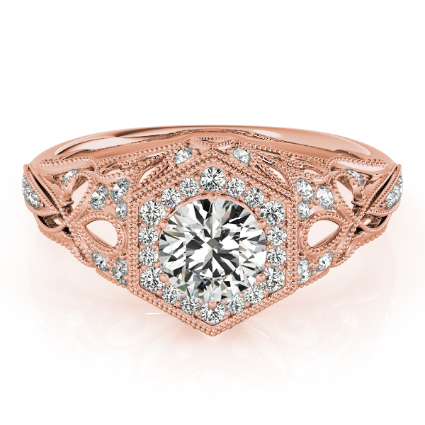 Vintage Hexagon Diamond Halo Engagement Ring with Filigree Band in Rose Gold