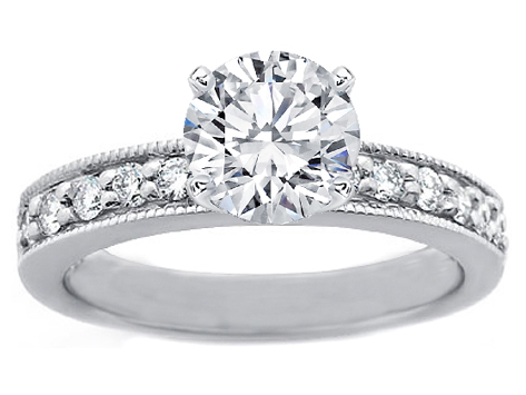 Milligrain Diamond Engagement Ring 0.20 tcw. In 14K White Gold