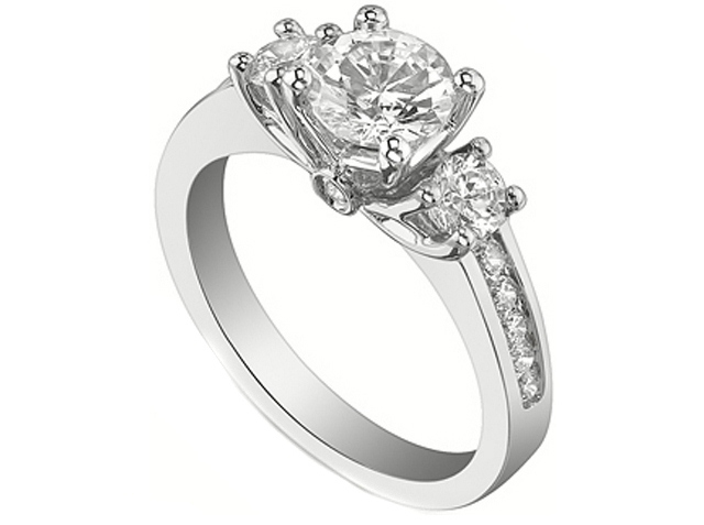 Three Stone Round Diamond Channel Set Engagement Ring 0.62 tcw. In 14K White Gold