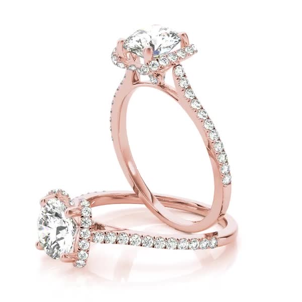 Cathedral Crown Diamond Engagement Ring in Rose Gold