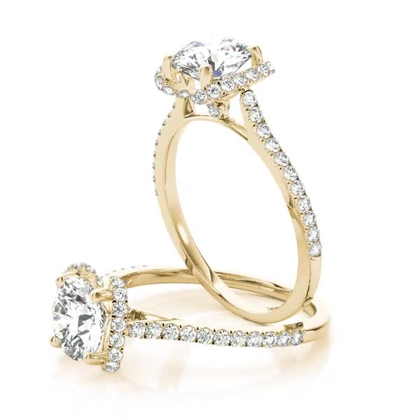 Cathedral Crown Diamond Engagement Ring Yellow Gold