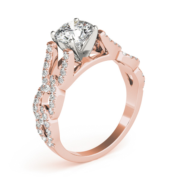 link infinity diamond cathedral engagement ring in rose gold - Interlocking Wedding Rings