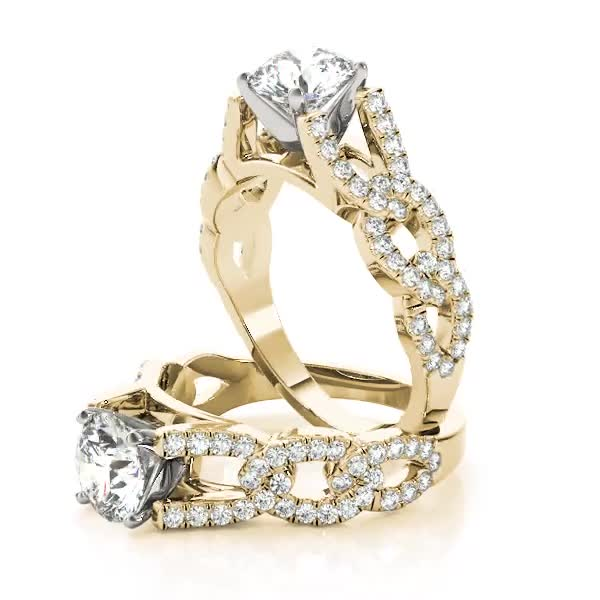 Link Infinity Diamond Cathedral Engagement Ring Yellow Gold