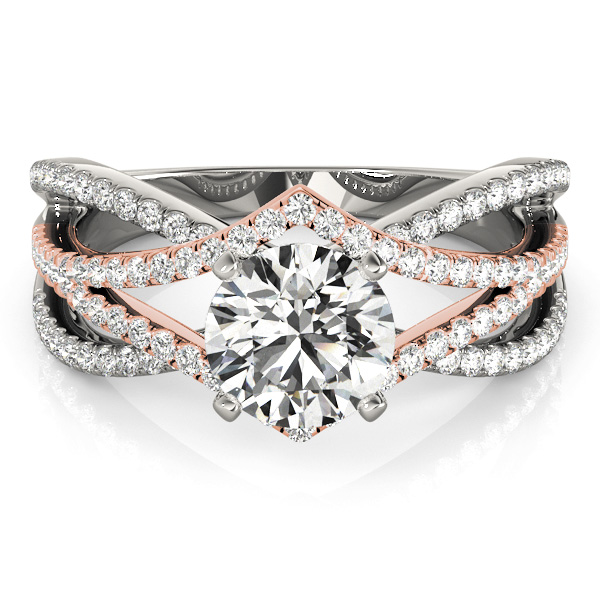 Multi Row Intertwined Engagement Ring in Two Tone Gold