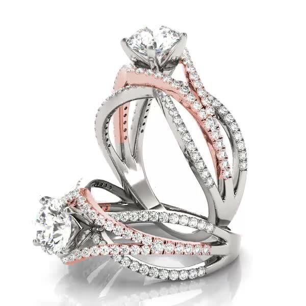 Engagement Ring Multi Row Intertwined Engagement Ring In