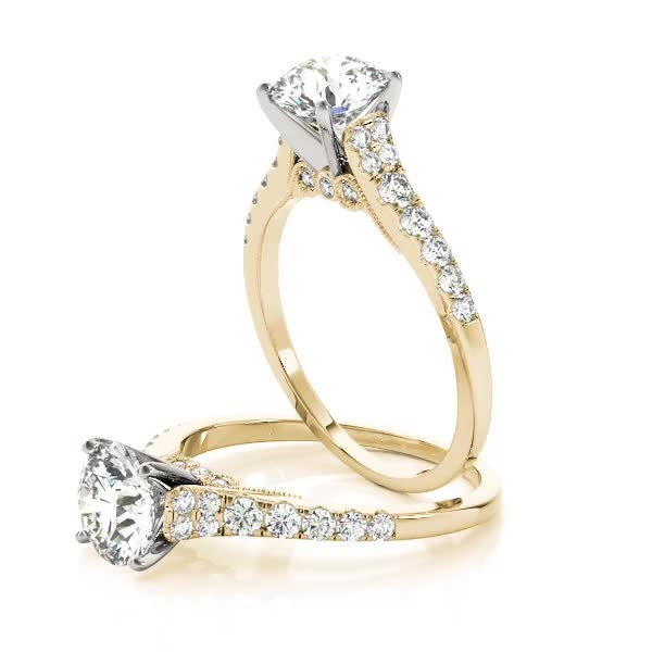 Cathedral Petite Diamond Engagement Ring with Surprise Diamonds Yellow Gold
