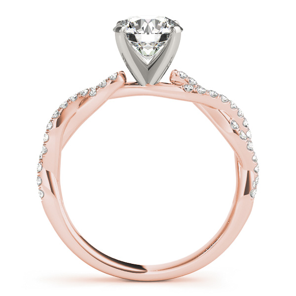 Petite Intertwined Diamond Engagment Ring in Rose Gold