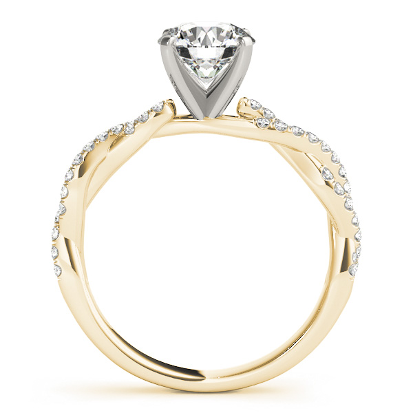 Petite Intertwined Diamond Engagment Ring in Yellow Gold