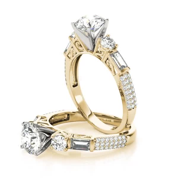 Five Stone Round & Baguette Cut Diamond Engagement Ring with Etoil Band Yellow Gold