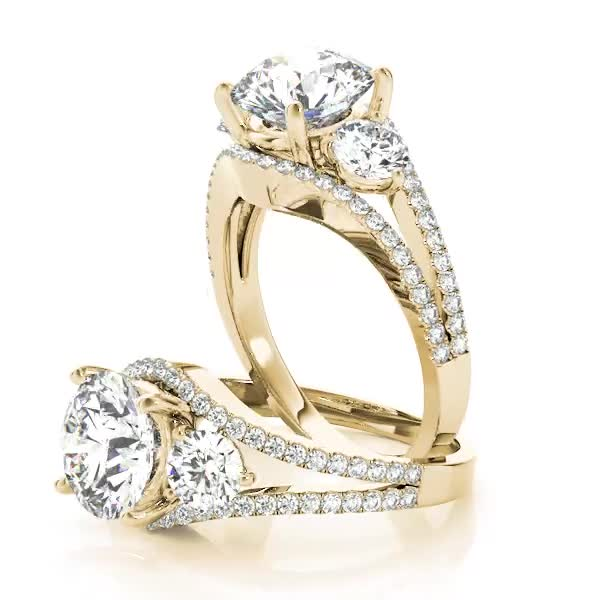 Large Three Stone Diamond Engagement Ring with Split Band Yellow Gold