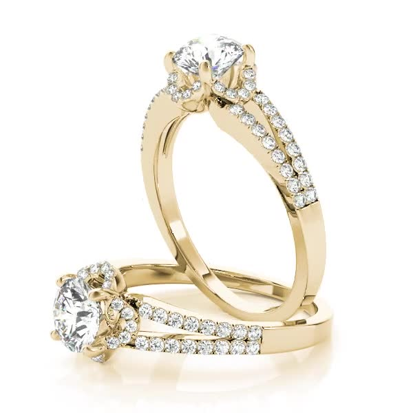 Floral Halo Diamond Split Band Engagement Ring Yellow Gold