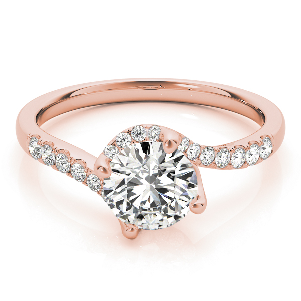 Swirl Petite Tapered Diamond Engagement Ring in Rose Gold