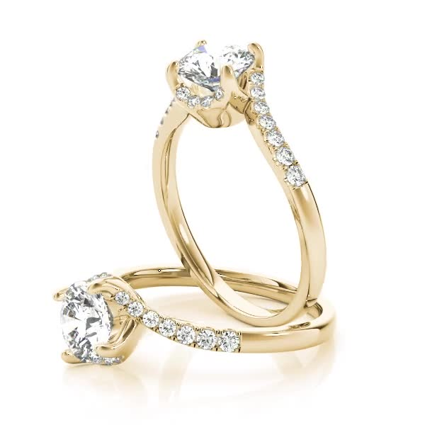 Swirl Petite Tapered Diamond Engagement Ring Yellow Gold