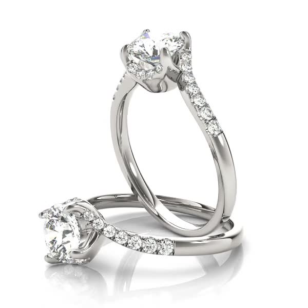 Swirl Petite Tapered Diamond Engagement Ring