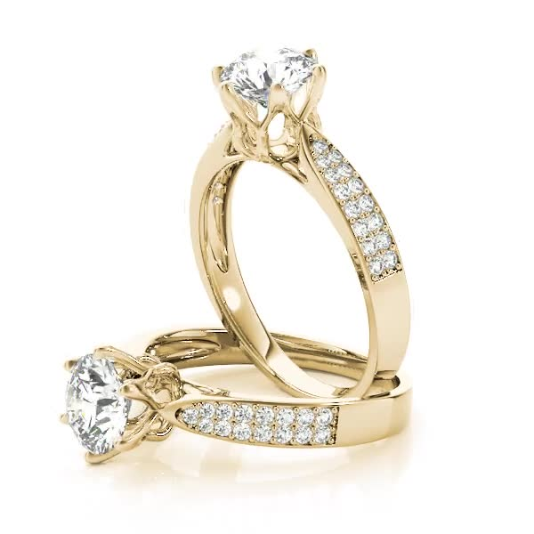 Cathedral Floral Crown Diamond Engagement Ring with Double Row Band Yellow Gold