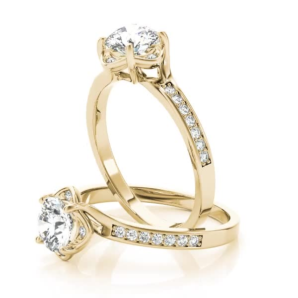 Swirl Floral Halo Petite Engagement Ring Yellow Gold