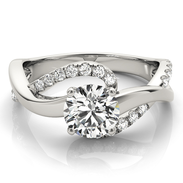 Double Band Intertwined Diamond Engagement Ring