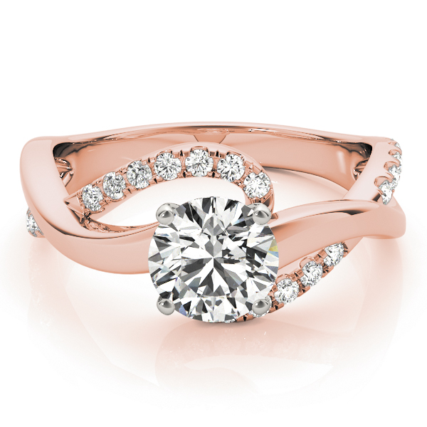 Double Band Intertwined Diamond Engagement Ring in Rose Gold